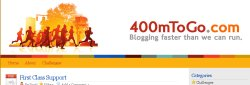 400 Meters to Go is a grassroots campaign start by myself, Jeremy Kendall, and Scott Wills.  The site's purpose is to sharing our Apple® iPod® and Nike+® running experiences with you throughout the duration of this Web site, as well as providing lots of tips, tutorials, news and reviews for Nike+ runners of all abilities.  The backend for the site is Wordpress which Jeremy and I are currently developing plugins to tap into the information provided by Nike+®.